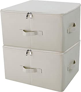iwill CREATE PRO Collapsible Storage Bins with Lids, Storage Cubes, Tide Up Your Closet, Beige, Set of 2