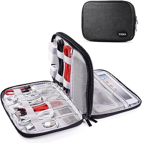 TYCKA Sac de Rangement de câbles, Organisateur de Voyage pour Accessoires Electronique, Câble, Cordon, Mini iPad, Kin...