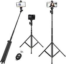 """Selfie Stick Tripod,52"""" Portable Extendable Tripod Stand with Bluetooth Remote & Phone Mount Compatible with iPhone 7/8/x xs /11 /Samsung Galaxy S10 S9/Huawei/Google/Xiaomi/More Cellphone"""