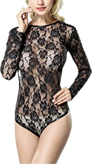 Womens Sexy Long Sleeve Floral Lace Backless Bodysuit Teddy Lingerie