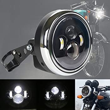 MOVOTOR 7inch Motorcycle Headlight with Bracket Clamp Red Background White DRL Hi//Low Beam for Universal Motorcycle Harley Honda Yamaha Triumph Cafe Racer