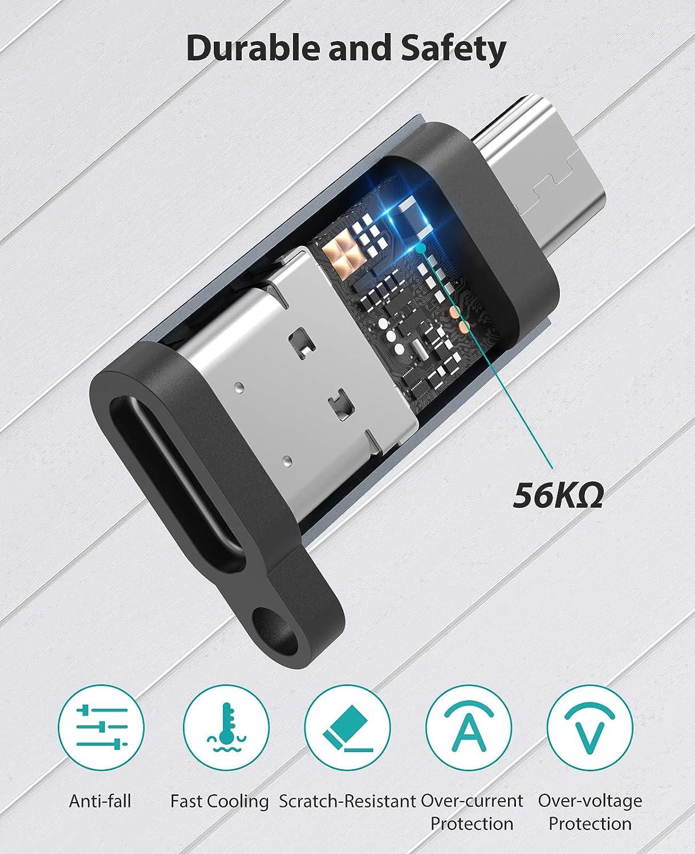 Maschio Connettore USB C Ricarica Rapida /& SYNC per Samsung Galaxy S7//S7 Edge//S6//J7//J3,LG G4,Samsung Tab 4,Power Bank,Grigio a Micro USB Femmina Nimaso Adattatore Micro USB a USB C 4 Pack