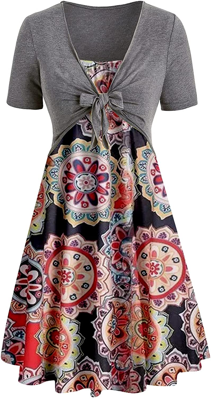Sun Dresses Women Summer Fashion Woman Summer Casual Solid Tops Bandage Short Sleeve +Print Dress Casual Sexy Boho