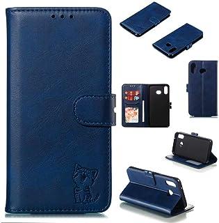 JJWYD Funda para Samsung Galaxy A6S PU Cuero Flip Folio Carcasa Cierre Magnético Función de Soporte Billetera PU Cuero Funda para Samsung Galaxy A6S - Azul Gato