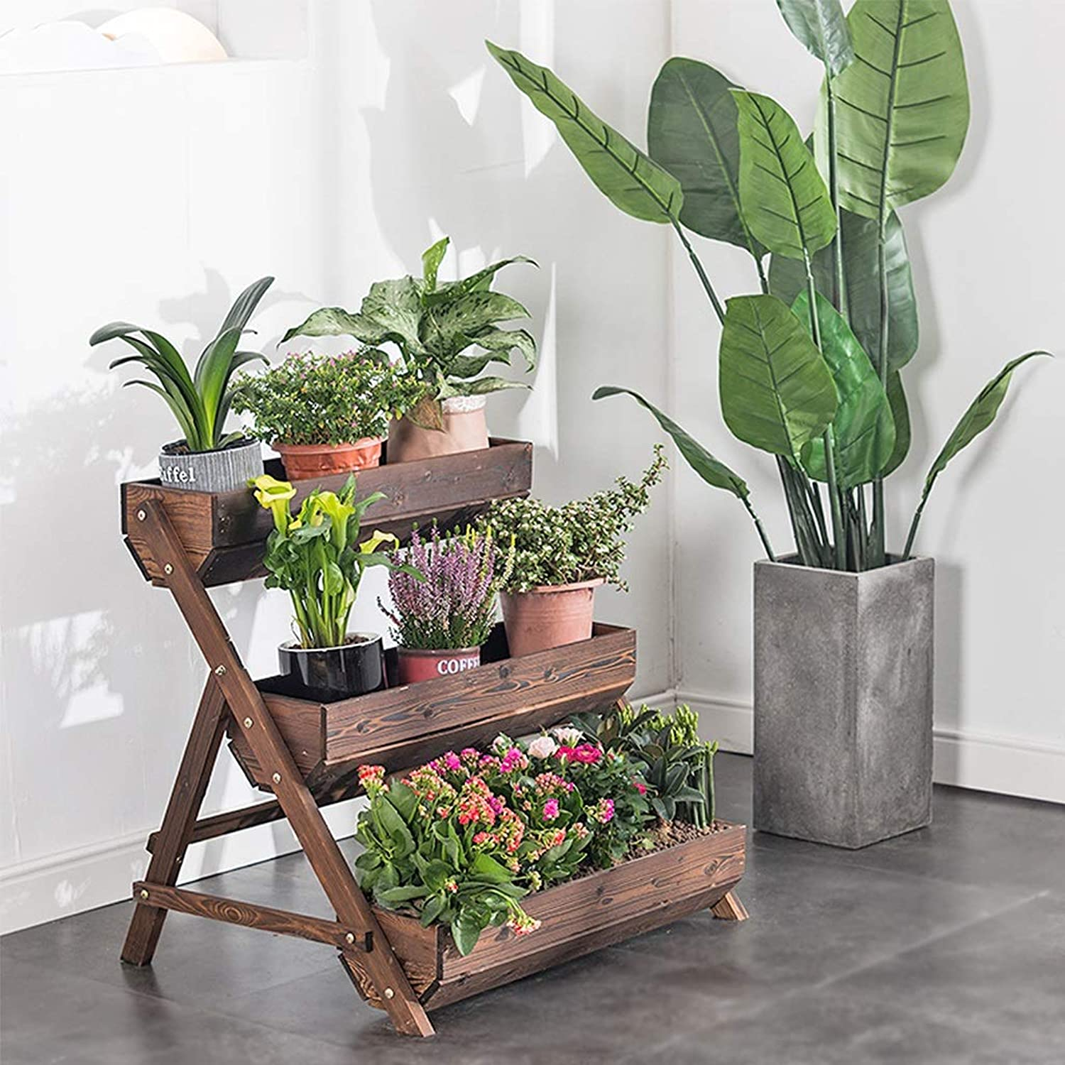 3 Tier Flower Stand Brown, Solid Wood Indoor Plant Stands, Balcony Outdoor Patio Multi-Layer Wood Flower Stand