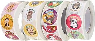 NUOBESTY 4 Rolls Teachers Reward Stickers Cartoon Animal Reward Stickers Kids Behavior Grading Clings for School Classroom...