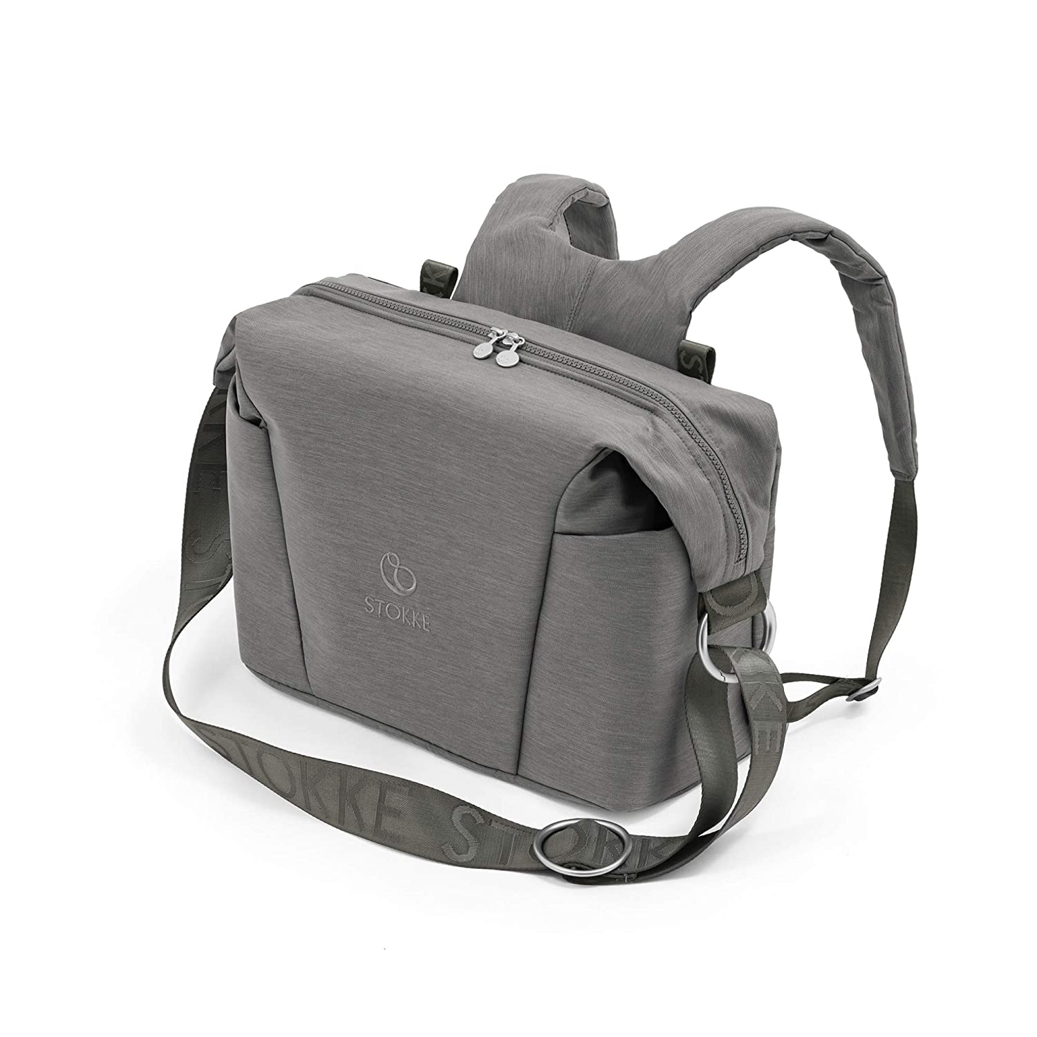 Stokke Xplory X Changing Bag, Modern Grey - Doubles As Shoulder Bag or Backpack - Includes Foldable Changing Mat & Pouch Bag - UPF 50+, Water Repellent, Easy to Clean