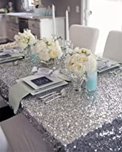 B-COOL 50x50 inches Square Silver Sequin Tablecloth Thanksgiving Table Colth Sparkle Overlays Glitz Sequin Fabric Tablecloth