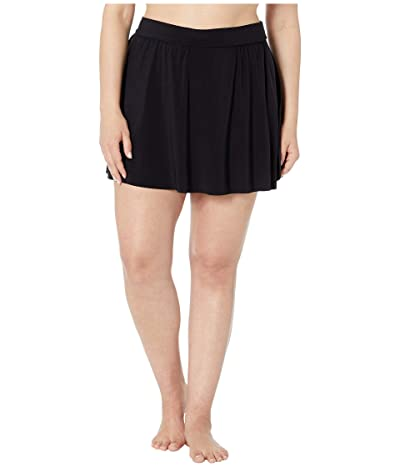 Magicsuit Plus Size Solid Jersey Tennis Skirt (Black) Women