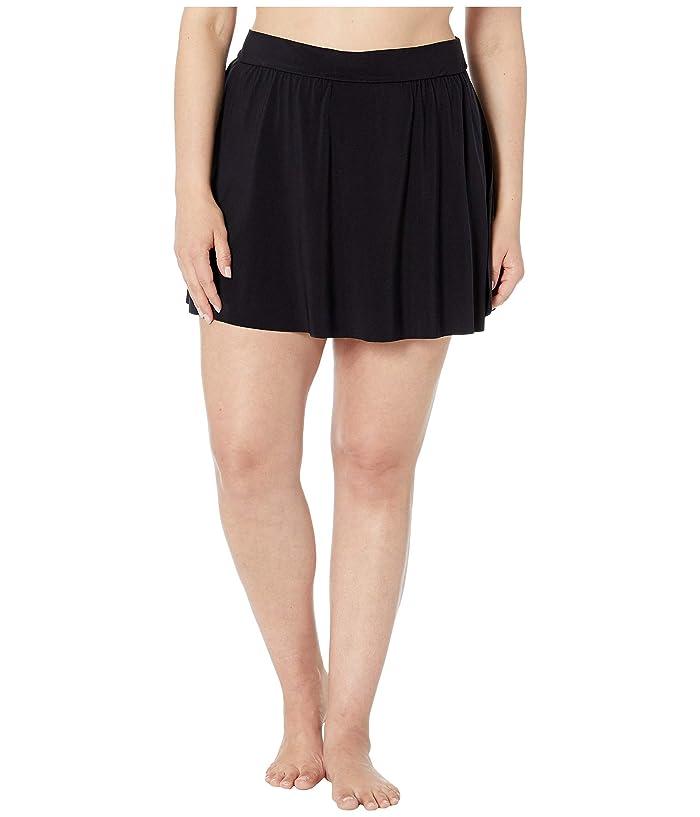 Magicsuit Plus Size Solid Jersey Tennis Skirt (Black) Women