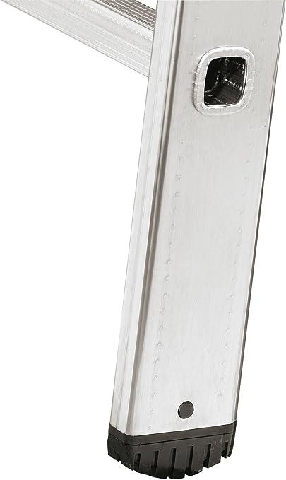 Escalera Hailo S60 ProfiStep One 7106-007 Color Plateado 6 pelda/ños, Resistente a la Intemperie y sin Mantenimiento, soporta hasta 150 kg, Fabricada en Alemania