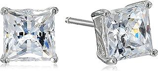 Myia Passiello Timeless Platinum-Plated Sterling Silver and Swarovski Zirconia Princess Stud Earrings