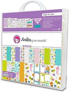 Anita y Su Mundo Collection Bas de mer Kit Mallette Scrapbooking (Paples, autocollants, badges, Brads Epoxy, timbres, abéc...