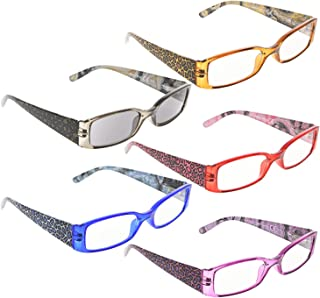 READING GLASSES 5 pack Tiger Patterned Temples Include Sunshine Readers