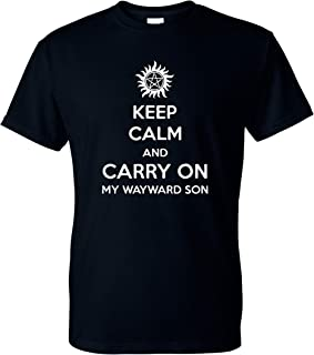 Keep Calm and Carry On My Wayward Son Winchester Brothers Unisex T-Shirt - New Black