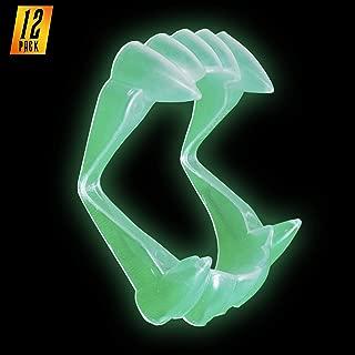 Skeleteen Glowing Clear Vampire Fangs - Glow in The Dark Transparent Dracula Teeth - 12 Pack