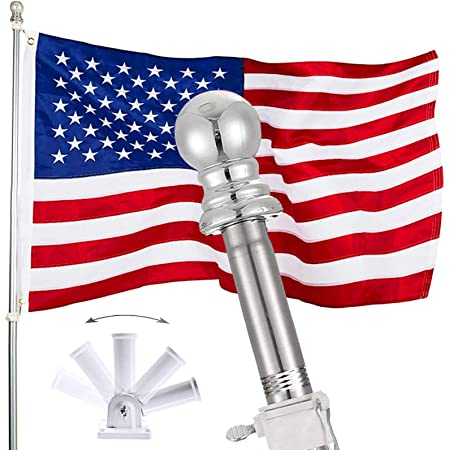 6FT Stainless Steel Flagpole with Tangle-Free Swivels /& Ball Topper Yard Garden Weather Safe Rustproof Flag Holder for American Christmas Flag PARTAKER Flag Pole for House Black Pole Only