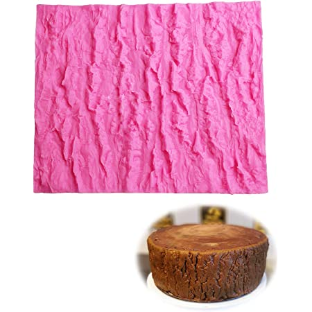 Tapis Texture en Silicone pour Gâteau Fondant avec Impression d'Écorce d'arbre Tapis de Gaufrage Fondant Gaufrage Cuisson Moule 3D Effet Dentelle pour en Relief Écorce d'arbre Décoration Bordures