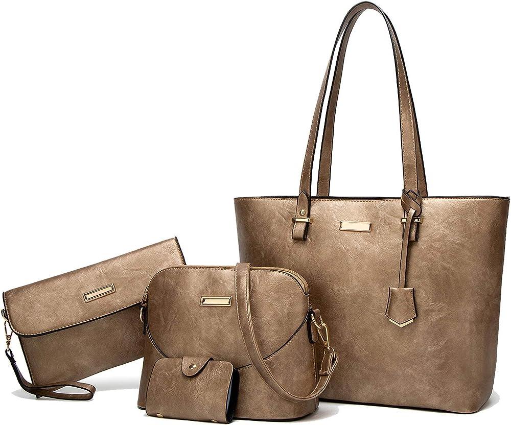 Tcife, borsa multiuso, tote, tracolla, pochette, da donna, in pelle sintetica NJSB00029EU-Gold