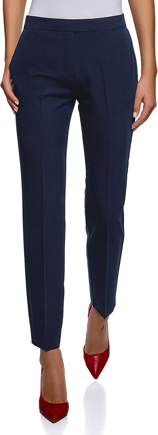 oodji Collection Women's Classic Slim-Fit Trousers