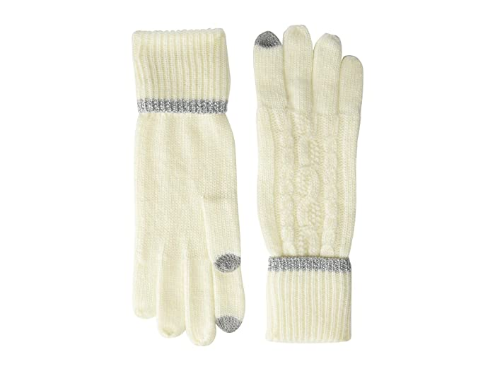 LAUREN Ralph Lauren  Tipped Cable Touch Gloves (Cream/Silver) Liner Gloves