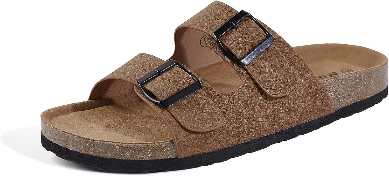 Runcati Mens Sandals Soft Flat Cork Footbed Deluxe Strap Direct sale of manufacturer Two Adjustable
