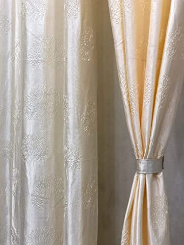 Mohit Home Furnishing Heavy Long Crush Floral Design Punching Tree Curtains Set of 2 Pecs Cream Colour Size (4 x 7 Fe...