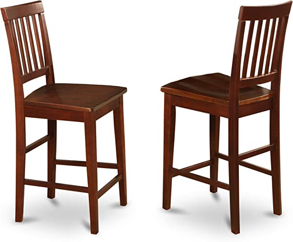East West Furniture VNS MAH W Counter Stool Set With Wood Seat Mahogany Finish Set Of 2