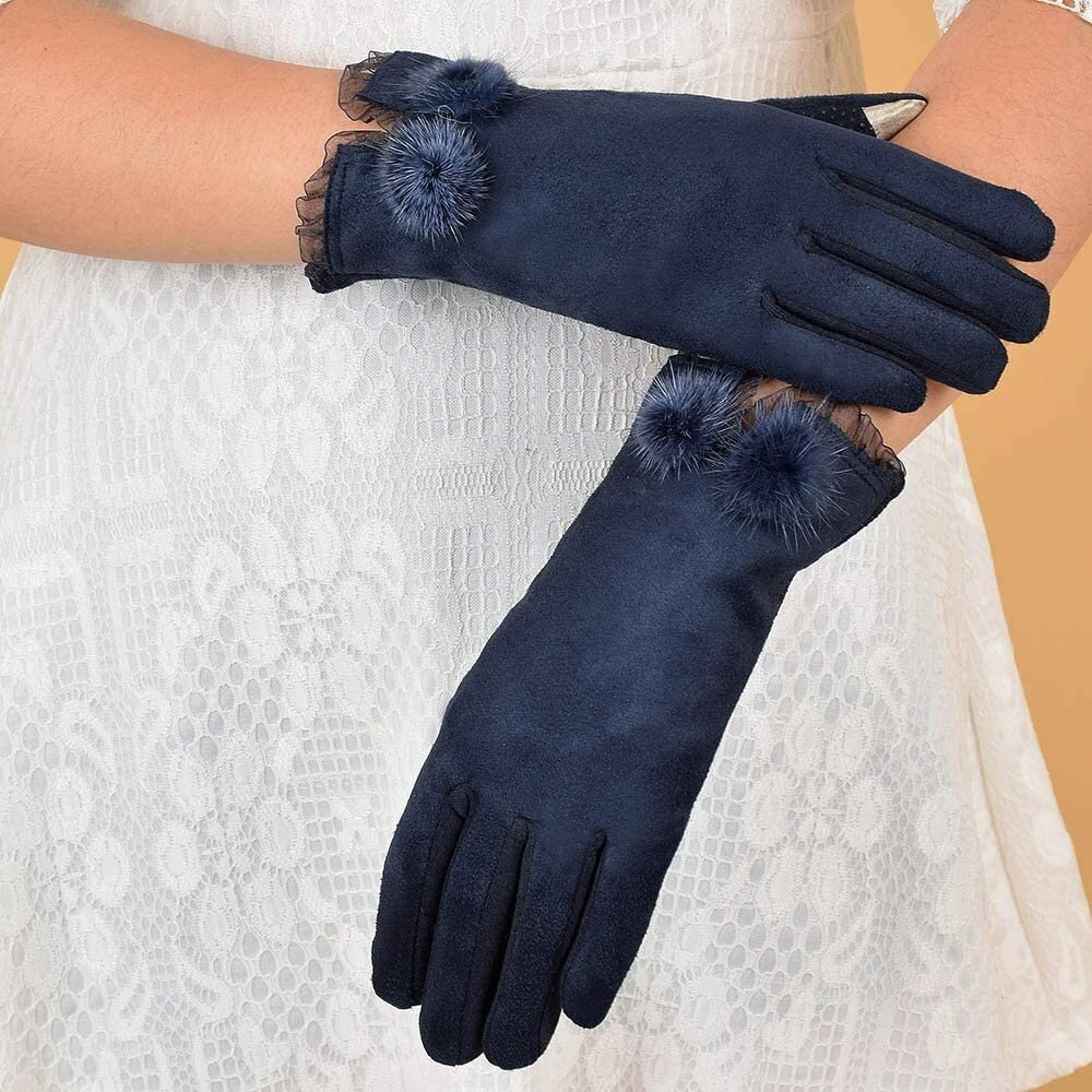FASGION Women Warm Winter Glove Soft Faux Suede Thick Mitten Full Finger Glove Lovely Plush Ball Lace Mittens Women's Gloves (Color : Navy)