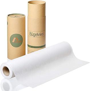 Amazy Teletta di Rinforzo (0,4 x 9 m) – Fliselina termoadesiva per Tessuto per rinforzare Due Tessuti Senza Cuciture (Bian...