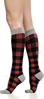 VIM & VIGR Women's 15-20 mmHg Compression Socks: Montana Plaid - Red & Black (Merino Wool) (Large)