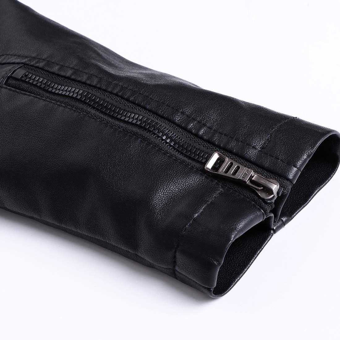 chouyatou Men's Vintage Stand Collar Zipper Front Fleece Lined Moto Pu Leather Jacket