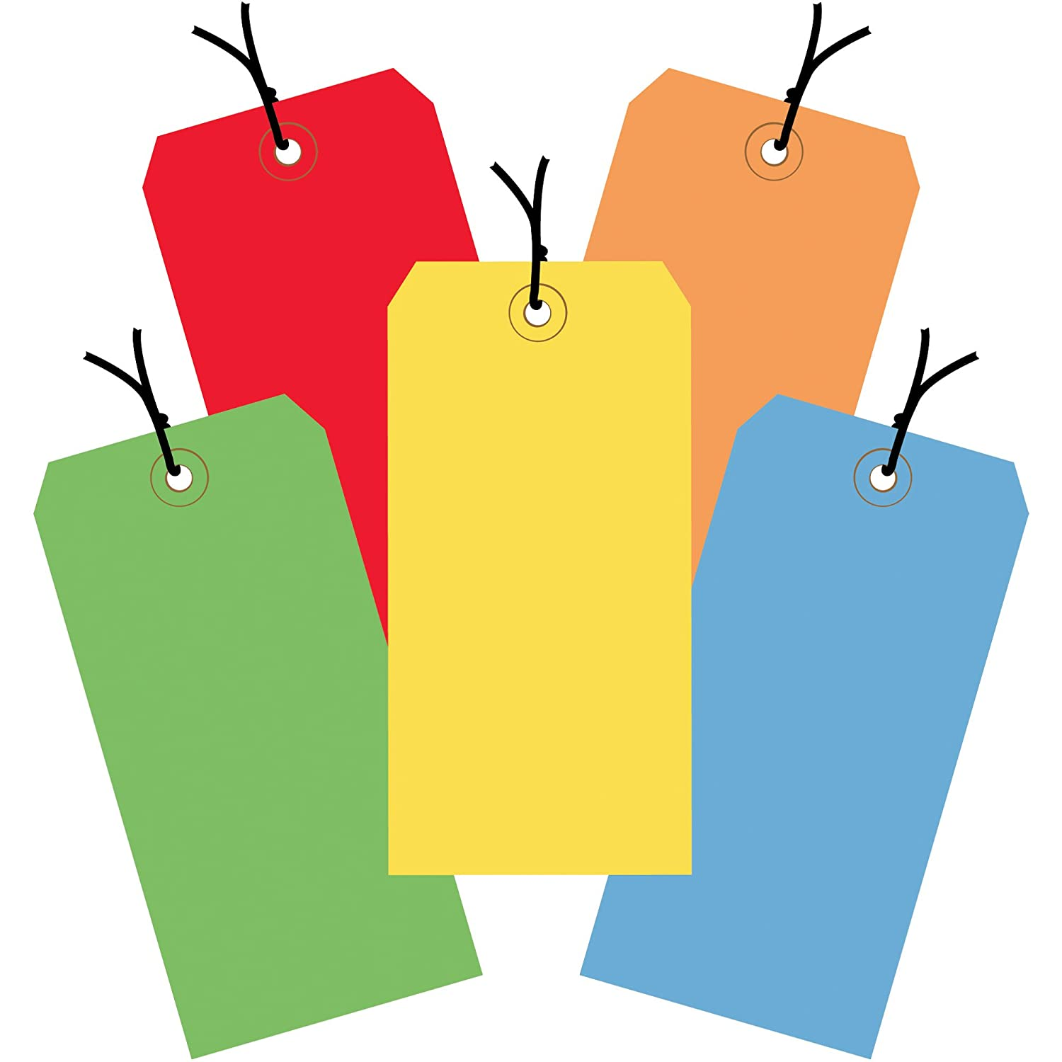 Assorted Color Shipping Tags, Strung, 13 Pt, 6 1/4