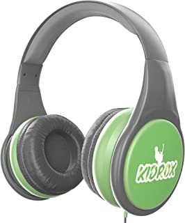 KidRox RS4 Kids Headphones 85dB Volume Limited Adjustable and Safe Hearing Protection Tangle Free Wired On-Ear Earphones for Children Toddler Boys Girls (Green/Gray)