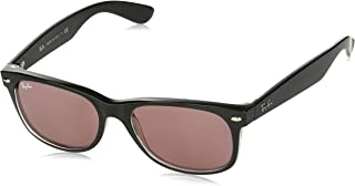 RAY-BAN RB2132 New Wayfarer Sunglasses, Black & Transparent/Violet Photochromic, 55 mm