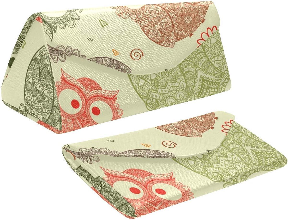 Glasses Case Funny Cute Owl Eyeglass Case Leather Magnetic Folding Hard Case Sunglasses Eyewear Protective Case