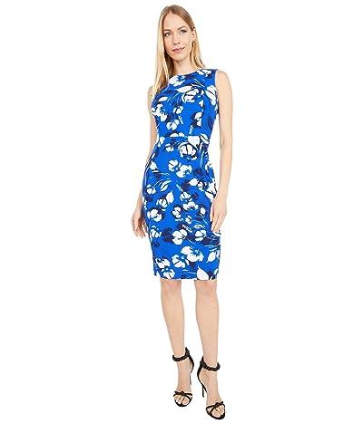 Calvin Klein Floral Print Sheath Dress (Regatta Multi) Women