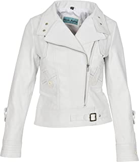 Womens Real Leather Biker Style Fitted Cross Zip Jacket Hetty White