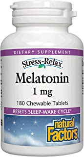 Stress-Relax Melatonin 1 mg by Natural Factors, Natural Sleep Aid, Resets The Sleep-Wake Cycle, 180 chewable Tablets (180 ...