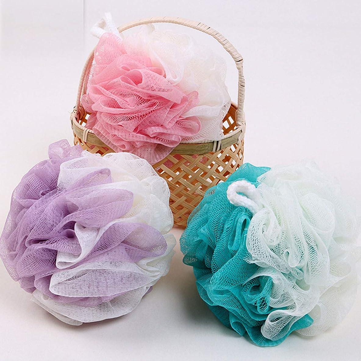操作分解するライナーボディウォッシュボール 泡立てネット スポンジ フラワーボール 超柔軟 シャワー用 風呂 浴室 3 個入 (3 個入, Pink + Purple + Blue)