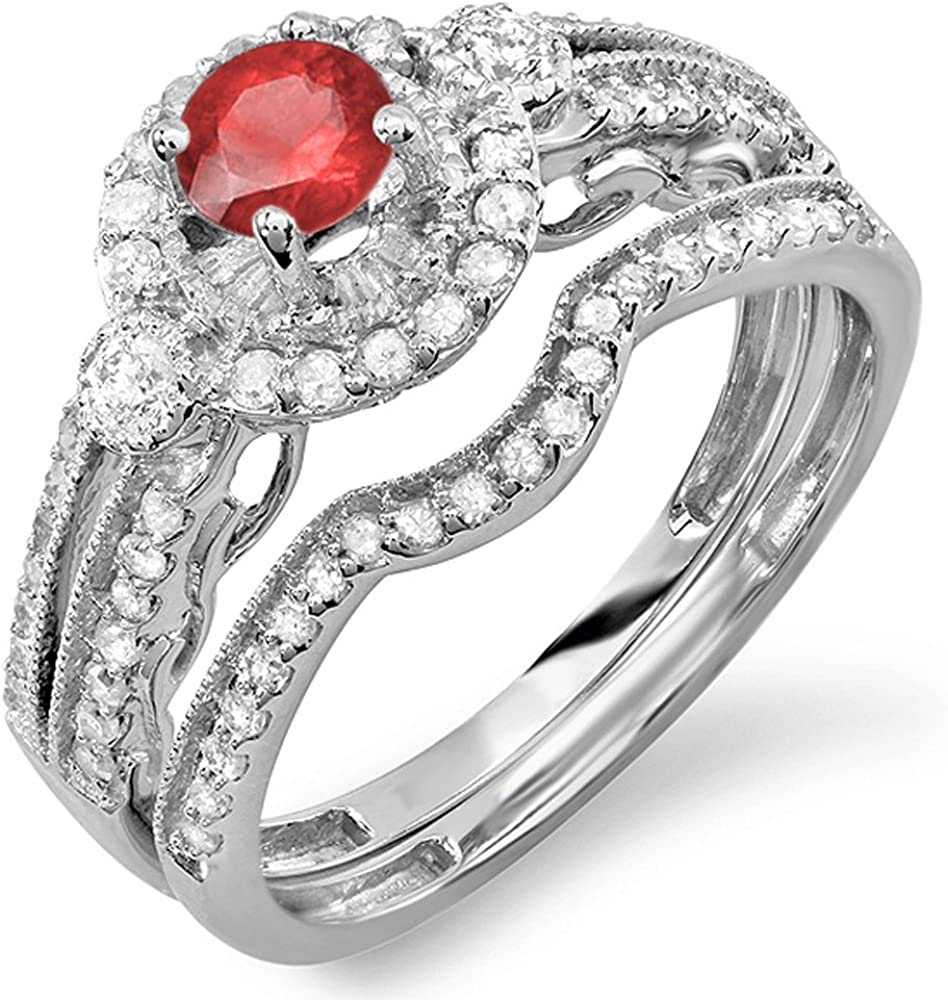 Max 46% OFF Dazzlingrock Collection 10K Round Quantity limited Ruby Ha White Ladies Diamond