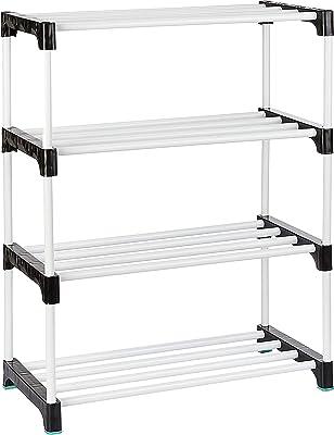 Amazon Brand - Solimo Shoe Rack, 4 Shelves, Black