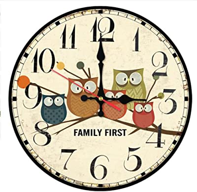 Shuangklei Wall Clock Home Decoration Living Room Wall Stickers Cartoon Antique Style Clocks Still Life Quartz