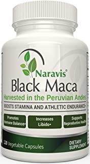 Naravis Gelatinized Black Maca Root - 1000mg Serving - 120 Veggie Capsules - Pure Organic Lepidium Meyenii from Peru - Sup...