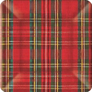 Ideal Home Range PEG209628801 8 Count Square Paper Plates, 10-Inch, Classic Red and Green Plaid Check
