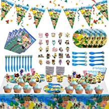 Animal Crossing New Horizons Party Decorations, Animal Crossing Gifts for Kids, Birthday Party Supplies Included Cupcake Toppers, Stickers, Popcorn Boxes, Tablecloth, Pennant, Plates and Paper Cups