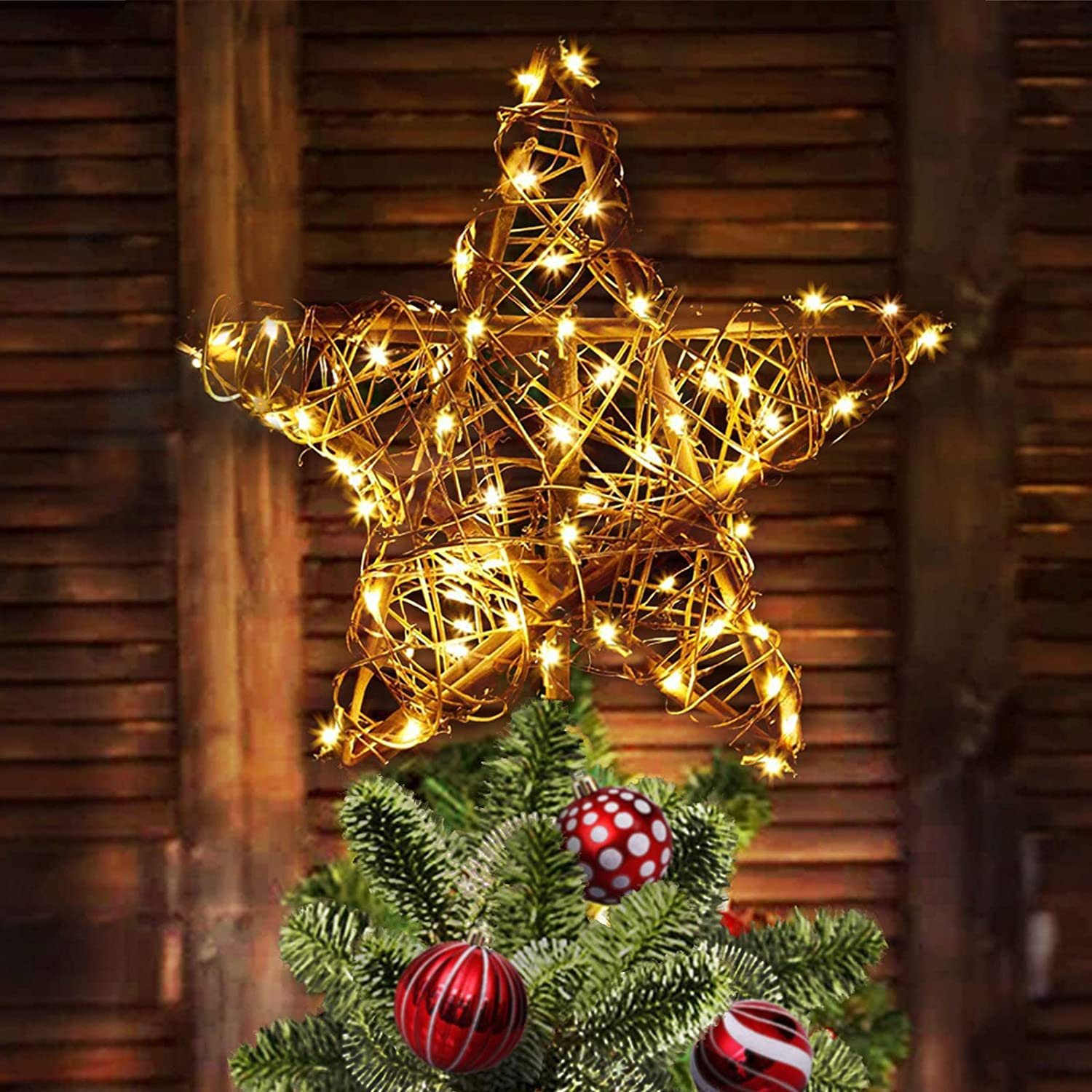 Star Christmas Tree Topper, Rattan Natural Christmas Tree Topper Lighted with 23Ft 30LED Warm White Battery Powered Copper Lights, Rustic Farmhouse Xmas Tree Topper Star Christmas Decorations
