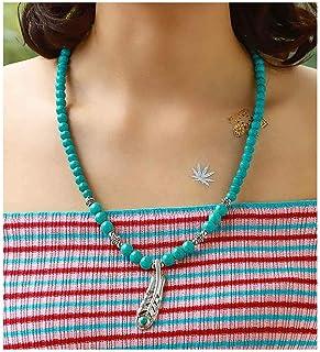 Fstrend الفيروز الخرز قلادة ورقة الشجر الأزرق الطبيعي الأحجار الكريمة اليدوية مطرز حجر قلادة مجوهرات للنساء والرجال