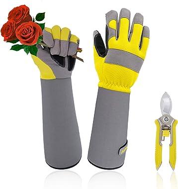 Jardineer Rose Gloves & Trimming Scissors Set, Thornproof Gardening Gloves with Adjustable Velco, Long Sleeve Rose Pruning Gl