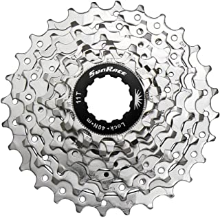 SunRace CSR91 9-Speed Nickel Plated Cassette with Alloy Lockring and Gray Spacer